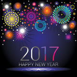 Happy New Year - 2017. Happy New Year numerals with colorful fireworks design on a blue gradient background Stock Images