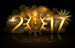 Happy New Year - 2017. New Year numerals with a gold clock and fireworks background Stock Photography