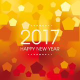 Happy New Year - 2017. Happy New Year numerals on a hexagon pattern on a summer background Royalty Free Stock Photo