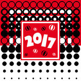 Happy New Year - 2017. New Year numerals on a red background surrounded by numerous black bubbles Royalty Free Stock Image