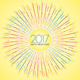 Happy New Year - 2017. New Year numerals set on light yellow background with radiating stokes of lines Stock Image