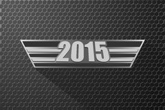 Happy new year 2015 . Happy new year 2015 on octagon metal background royalty free illustration