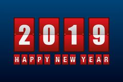 Happy new year 2019 with odometer number counter. Vector illustration stock illustration