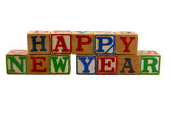 Happy New Year Old blocks Stock Photography