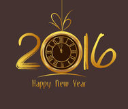Happy New Year 2016 - Old clock.  Stock Photos