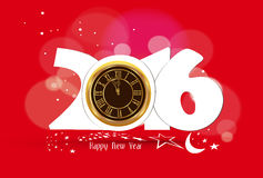 Happy New Year 2016 - Old clock.  Stock Image