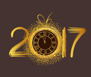 Happy New Year 2017 - Old clock.  Royalty Free Stock Photo