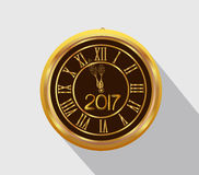 Happy New Year 2017 - Old clock. Happy New Year 2017 - Old clock vector illustration