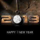 Happy New Year 2019 - Old Pocket Watch. Happy New Year 2019 - Wooden numbers with an old and broken pocket watch with chain on a wooden background royalty free illustration