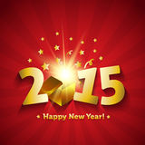 Happy New Year 2015 open magic gift greeting card. Sample Royalty Free Stock Images