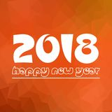 Happy new year 2018 on orange low polygon gradient graphic background eps10 Royalty Free Stock Image