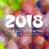 Happy new year 2018 on orange low polygon Royalty Free Stock Image