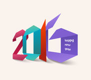 Happy new year 2016. Origami colorful.  Royalty Free Stock Photos