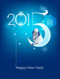 Happy New Year 2015. Original Christmas card. Sheep fishing Vector Illustration