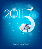 Happy New Year 2015. Original Christmas card. Sheep sleeps on a month Royalty Free Stock Photo