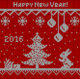 Happy New Year ornamental knitting with deers, tree, gift and rabbit. Red background.  Stock Photo