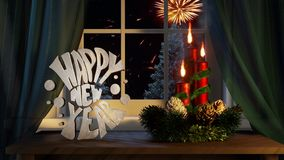 Happy new year with ornaments candles curtains in the window and outside conifers snowing and fireworks royalty free illustration