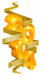 Happy New Year 2014 Ornaments. Orange and gold happy new year 2014 ornaments with a ribbon reading happy new year Royalty Free Stock Photography