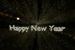 Outer space Happy New Year. Bright stars wishing a Happy New Year in outer space (photo realistic Stock Image