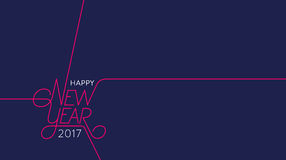 Happy New Year 2017 Outline Blue Royalty Free Stock Photos