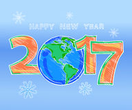 Happy New Year outline color picture sketch. Happy New Year 2017 sketch. Globe and figures outline color picture. Planet earth in the form of the digit zero Stock Image