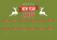 Happy new year 2014. Over green background  vector illustration Stock Photography