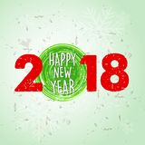 Happy new year 2018 over green old paper background with snowfla. Kes, holiday seasonal concept royalty free illustration
