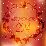 Happy new year 2014 over luxury background. Vector gold disco lights frame Royalty Free Stock Images