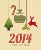 Happy new year 2014. Over  pink background  vector illustration Stock Images