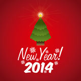 Happy new year 2014. Over red background vector illustration stock illustration