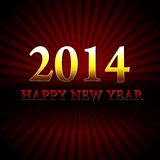 Happy new year 2014 over red rays Royalty Free Stock Images