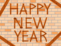 Happy new year over wall Stock Image