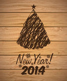 Happy new year 2014. Over wooden background  vector illustration Stock Photography