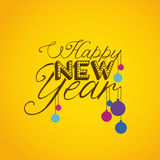 Happy new year. Over yellow background vector illustration stock illustration