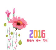 Happy new year 2016. Painted watercolor card with poppy.  Stock Illustration