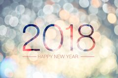 Happy new year 2018 with pale yellow bokeh light sparkling backg. Round,Holiday greeting card Royalty Free Stock Images