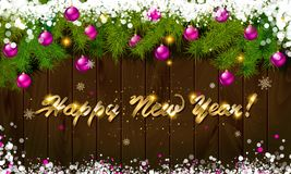 Happy New Year, panoramic banner. Golden text happy new year Golden text happy new year wooden background balls Christmas tree branches background balls Royalty Free Stock Photo