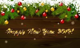Happy New Year, panoramic banner. Golden text happy new year Golden text happy new year wooden background balls Christmas tree branches background balls Stock Images