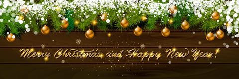 Happy New Year, panoramic banner. Happy New Year and Happy New Year, panoramic banner. Golden text happy new year Golden text happy new year wooden background Royalty Free Stock Photos