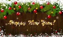 Happy New Year, panoramic banner. Golden text happy new year Golden text happy new year wooden background balls Christmas tree branches background balls Royalty Free Stock Images