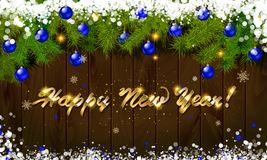 Happy New Year, panoramic banner. Golden text happy new year Golden text happy new year wooden background balls Christmas tree branches background balls Stock Photos
