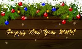 Happy New Year, panoramic banner. Golden text happy new year Golden text happy new year wooden background balls Christmas tree branches background balls Royalty Free Stock Photos