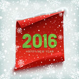 Happy New Year 2016. Paper banner. Happy New Year 2016. Red, curved, paper banner on winter background with snow and snowflakes. Vector illustration Royalty Free Stock Photo