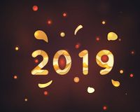 2019 Happy New Year paper craft holiday template. royalty free illustration