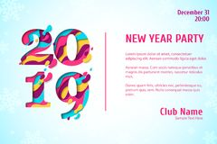 2019 Happy New Year paper cut banner Stock Photo