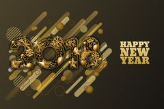 Happy New Year 2018  paper cut banner or greeting card. 3d gold numbers with stars, snowflakes on black background. Happy New Year 2018  paper cut banner or Royalty Free Stock Photo