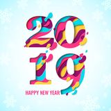 2019 Happy New Year paper cut banner Royalty Free Stock Image