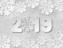 Happy New Year 2019 paper cut out vector background stock illustration