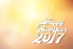 Happy New Year 2017 in Paper cut. An Shadow warm Light autumn Vintage style Vector For Background royalty free illustration