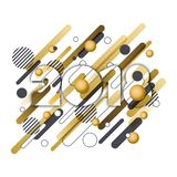 Happy New Year 2018  paper greeting card. Golden numbers with motion geometric shapes isolated on white background Royalty Free Stock Photography